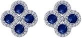 Lafonn Simulated Diamond Micro Pave Lab-Grown Blue Sapphire Square Cluster Stud Earrings