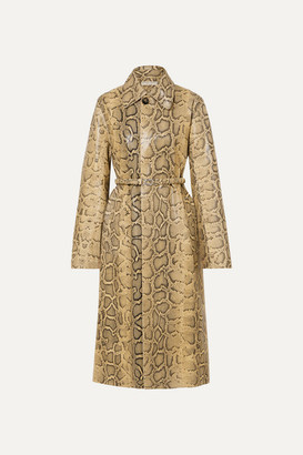 Bottega Veneta Snake-effect Leather Trench Coat - Beige