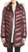 Bernardo Women's Hooded Down & Primaloft Coat With Genuine Coyote Fur Trim