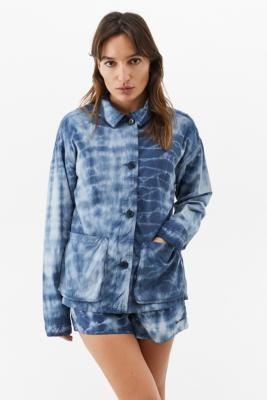BDG Tie-Dye Poplin Workwear Jacket - Blue XS at Urban Outfitters