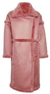 Dorothy Perkins Womens Vila Pink Faux Fur Longline Coat, Pink