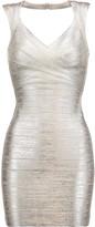 Herve Leger Iman cutout metallic bandage dress