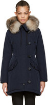Moncler Navy Down and Fur Aredhel Coat
