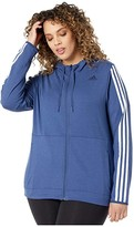 adidas Plus Size 3 Stripe Training Full Zip Hoodie Jacket (Tech Indigo) Women's Coat