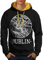 Ireland City Dublin Town Map Men NEW XXL Contrast Hoodie | Wellcoda