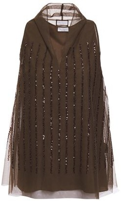 Brunello Cucinelli Sequin-embellished Tulle Top