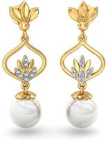 PEACOCK JEWELS 18K Yellow Gold 0.08 cttw White-Diamond ( | SI) and White Pearl Drop Earrings