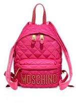 Moschino Studded Logo Patch Quilted Mini Backpack