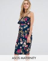 Asos Ruffle Bandeau Midi Dress in Floral Print
