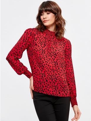 M&Co Animal print shirred blouse