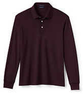 Classic Men's Big & Tall Long Sleeve Supima Interlock Polo Shirt-Rich Red