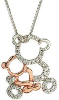 Two-Tone Mom and Baby Bear Pendant with Diamond Accents by Ax Jewelry