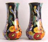 c1920-30 Pair of Carlton Ware 8.25 inch vases Nightingale pattern