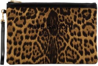 Saint Laurent Rive Gauche leopard-print pouch