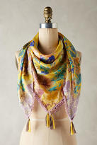 Anthropologie Yellow Bird Silk Scarf