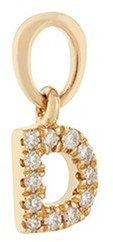 Loquet London Diamond 18k yellow gold letter talisman charm D