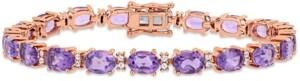 Macy's Delmar Amethyst (14 ct. t.w.) & White Sapphire (3/5 ct. t.w.) Link Bracelet in 14k Rose Gold