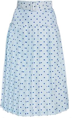 Rodarte Belted Pleated Polka-Dot Silk Midi Skirt