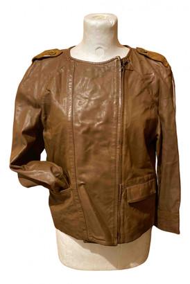 Stefanel Camel Leather Leather jackets