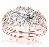 Houston Diamond District 1.33 Carat t.w. GIA Certified Heart Cut 14K White Gold Baguette And Round Brilliant Diamond Engagement Ring and Wedding Band Set ( Color VS1-VS2 Clarity)
