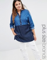 Junarose Chambray Color Blocked Shirt