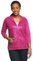 As Is Quacker Factory 3/4 Sleeve Sequin Scroll Knit Jacket w/ Hood