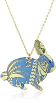 """Mercedes Salazar Enchanted Forest"""" Ungraved and Resined Hand Made Blue Bunny Necklace"""