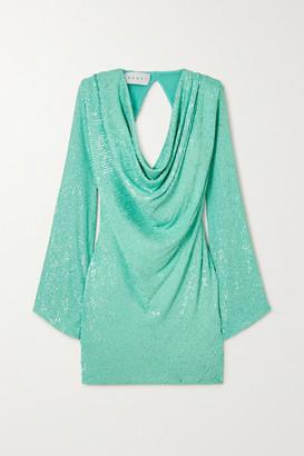 NERVI Carol Draped Sequined Stretch-georgette Mini Dress - Mint