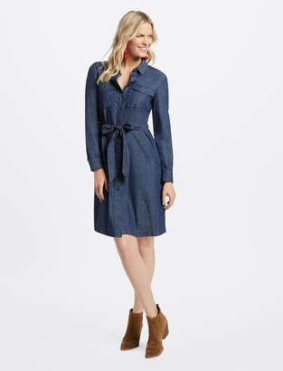 Draper James Belted Chambray Shirtdress
