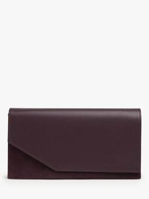 LK Bennett Demi Leather Envelope Clutch Bag, Red Wine