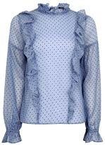 Topshop Spot ruffle blouse