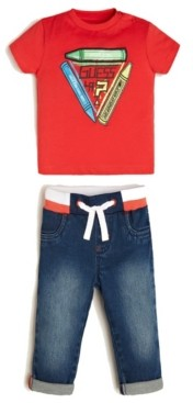 GUESS Boys Short Sleeve T-shirt & Stretch Denim Jean Set