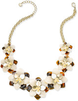 Charter Club Gold-Tone Tortoiseshell-Look Flower Statement Necklace, Only at Macy's