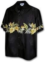 Pacific Legend Hawaiian Shirt for Men - w/ Golden Flower Stripe, 3X-Large