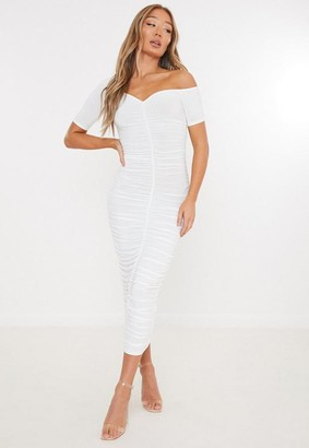 Missguided Cream Slinky Off Shoulder Ruched Midaxi Dress