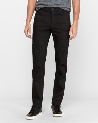 Express Slim Black Coated Stretch Jeans