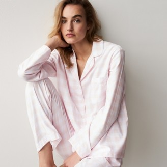 The White Company Brushed-Cotton Gingham Pyjama Set, Pink Check, Extra Small