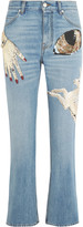 Alexander McQueen Obsession embellished cropped high-rise slim-leg jeans