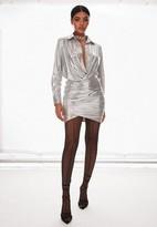 Missguided Silver Metallic Drape Shirt Dress