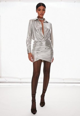 Missguided Silver Metallic Drape Shirt Dress