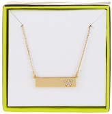 BaubleBar 14K Gold Plated Ice &W& Initial Bar Pendant Necklace