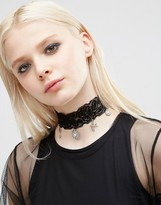 Asos Wide Charm Choker Necklace