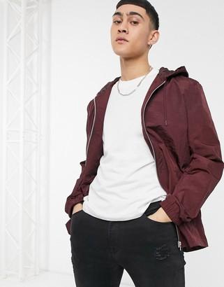 ASOS DESIGN hooded coach jacket in burgundy