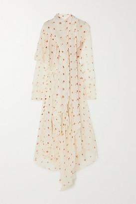 Petar Petrov Alonsa Asymmetric Polka-dot Silk-chiffon Dress - Ivory