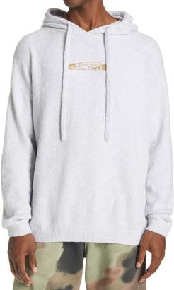 Off-White Embroidered Barrel Worker Logo Men's Cotton Blend Hoodie