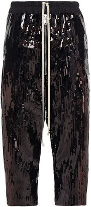Rick Owens Bela Cropped Sequined Cotton Track Pants
