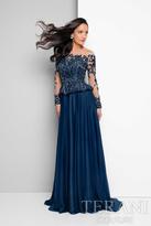 Terani Evening - Bateau Illusion Scalloped Peplum Gown 1713M3477