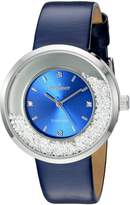 Peugeot Women's 'Diamond' Quartz Metal and Leather Dress Watch, Color: (Model: 3041SBL)