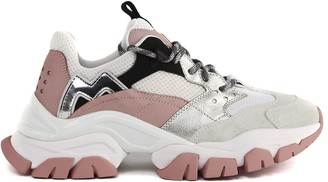 Moncler Leave No Trace White And Pink Sneakers In Leather And Mesh