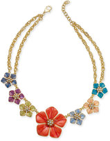 Charter Club Erwin Pearl Atelier For Gold-Tone Multi-Flower Statement Necklace, Only at Macy's